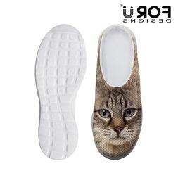 FashionTabby Cat Print Mesh Slippers Men Women Casual Flat S