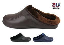 Mens Slippers Shoes Clogs Fleece Lined Warm Winter Rubber Ho