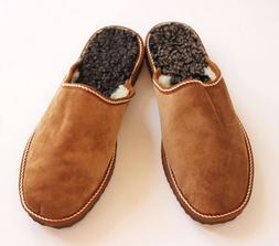 Men slippers made of sheepskin tan brown leather on top and