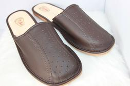 MENS 100% LEATHER SLIPPERS MULES CLOGS SLIP ON SHOES BROWN A