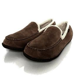 COLUMBIA MENS 9 BIG SKY MOC MOCCASSIN WOOL LEATHER SLIPPERS