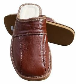 Mens Leather Slippers Slip On Shoes Size 6.5 7.5 8 9 9.5 10.