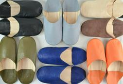 MENS MOROCCAN LEATHER BABOUCHE SLIPPERS MULES SLIDES SLIP ON