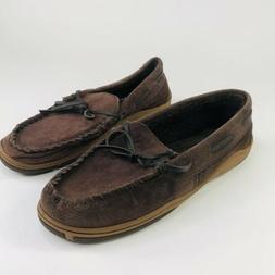 Rockport Mens Size 10 Brown Suede Leather Moccasin Slipper L