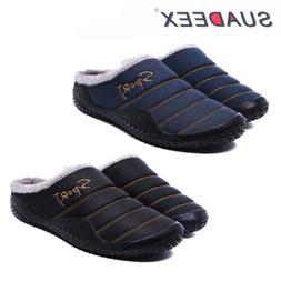 Mens Winter Indoor Outdoor Slippers Warm Fur Slip on Cozy Be