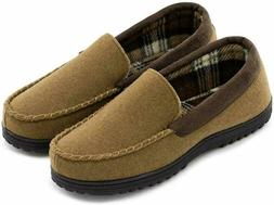 Men'S Wool Micro Suede Moccasin Slippers House Shoes Indoo