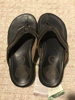 NEW OLUKAI Manini Black Leather Slippers / Flip Flops  Sting