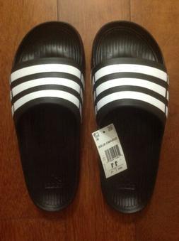 New Men's Adidas Duramo Slide Slippers Sandals Sz 11 Black/W