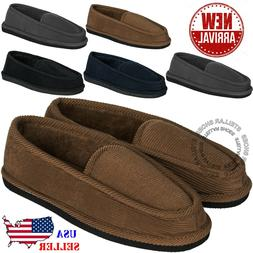 New Mens House Slippers Corduroy Moccasin Slip-on Men Shoes