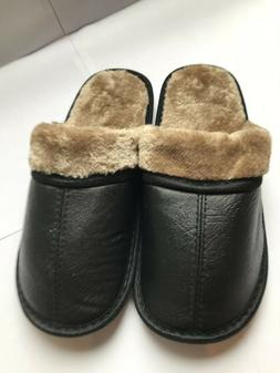 NEW Mens Slide Slippers Faux Leather Fur Lined Cushioned War