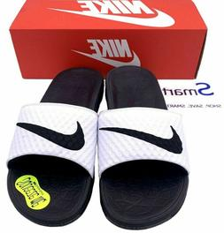 NEW SIZE 7-13 MEN Nike Benassi Solarsoft White Black Logo Sl