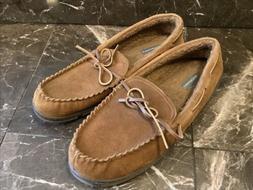 NEW ~ Rockport Suede Moccasins Slip-on Brown Rubber Sole Siz