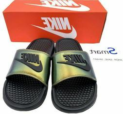 NIB SIZES 7-13 MEN Nike Benassi JDI SE Logo GREEN PRIZM Slid