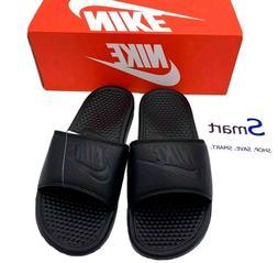 NIB SIZES 6-13 MEN Nike Benassi JDI Logo Black Out Print Sli