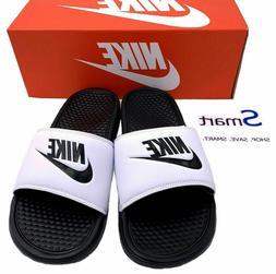 NIB SIZES 7-13 MEN Nike Benassi JDI Logo Black White Slides