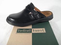 Josef Seibel Clogs Madrid Mules 10122 Black Leather New