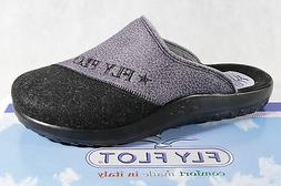 Fly Flot Slippers House Shoes Mules Clogs Grey/Black New