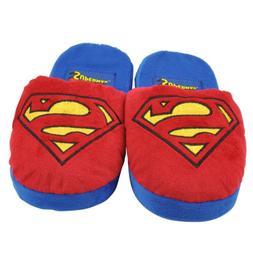 Superman Super Hero Cartoon Plush Slipper Mens Adult Red Blu