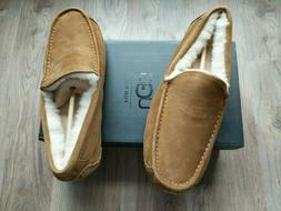 UGG Ascot Suede Fur Slippers Mens Size 11 Chestnut Brown EU