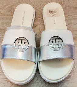 Tommy Hilfiger White & Silver Sandals Size 8 m New