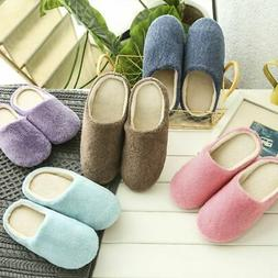 Women Men Anti-Slip Slippers Winter Warm Fleece Anti-Slip Sl